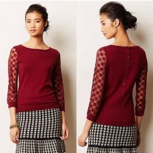 Anthropologie Sparrow Dotlace Burgundy Pullover